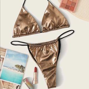 NWTS SHEIN Leopard & Gold Bikini Set Small